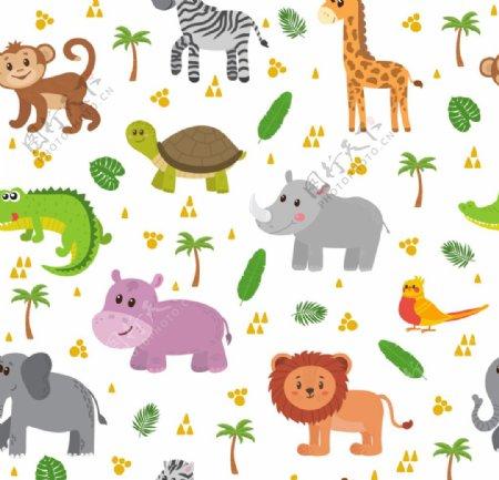 卡通可爱动物无缝印花背景素材图片