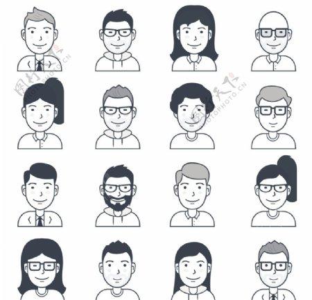 简约矢量卡通人物头像图片