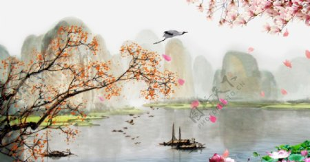 高清中国风山水飘落的花瓣