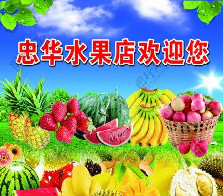 水果水果店批发零售天空图片