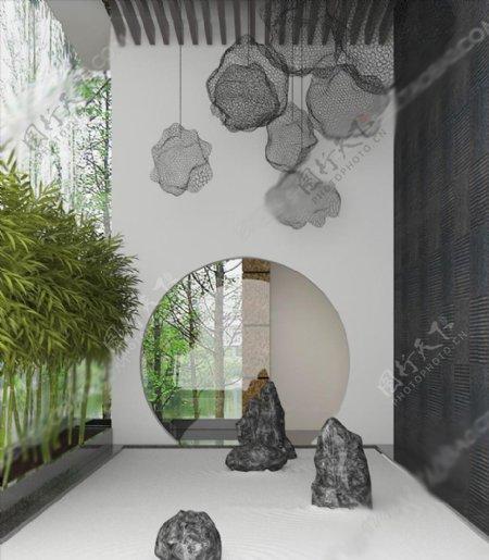新中式太湖石植物吊灯组合3D模图片