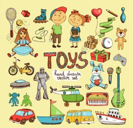 手绘儿童玩具图片