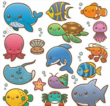 矢量卡通海洋动物图片