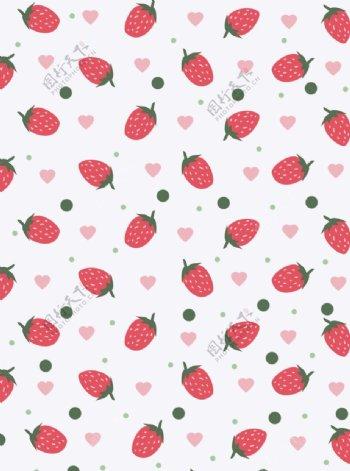 卡通可爱草莓小清新平铺背景图片