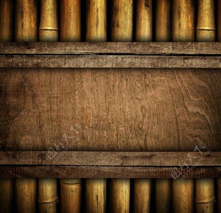 木板木排复古海报素材图片