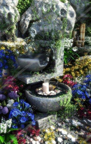 流水园艺小品3D模型图片