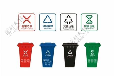 垃圾分类垃圾桶图标图片