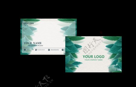 树叶清新名片卡片素材图片