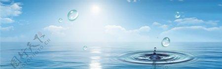 蓝天白云海水波纹图片