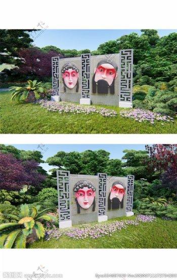 脸谱雕塑图片