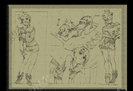 素描素材漫画人物卡通图片