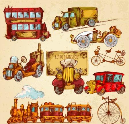 彩绘复古交通工具图片