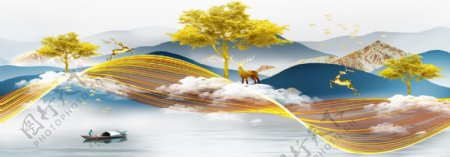 现代轻奢金色线条麋鹿装饰画图片