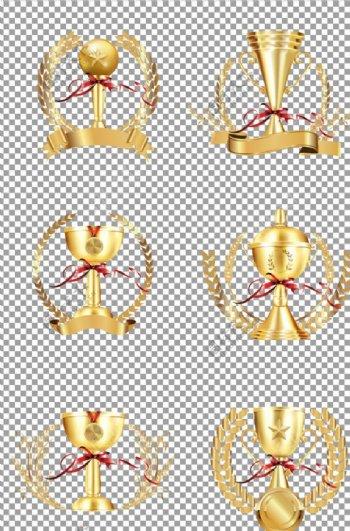 金色立体奖杯图片