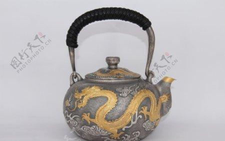 韩国银壶龙纹图片