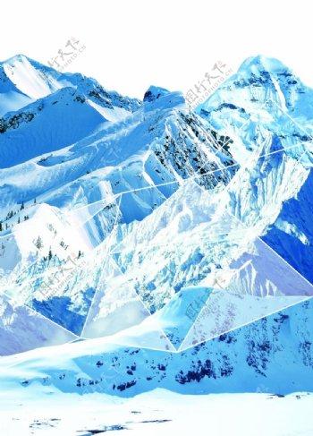高山积雪雪山峻岭印花图案图片