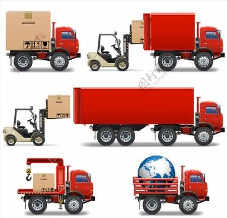 红色叉车和卡车图片