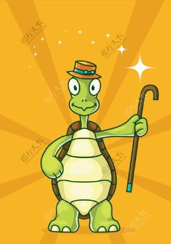 卡通拿拐棍的乌龟图片