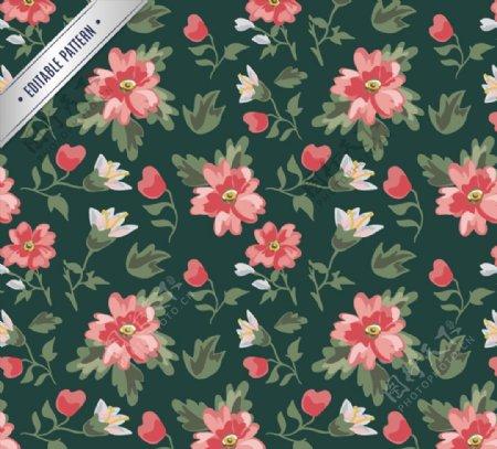 水彩花卉无缝背景图片