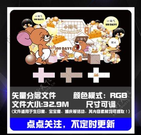 米老鼠生日派对装饰背景图片