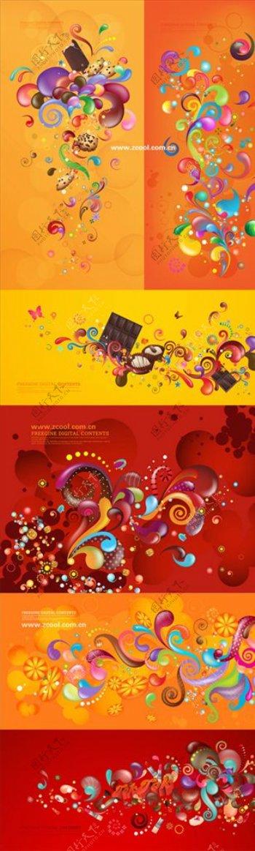 红色黄色缤纷花纹图案图片