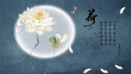 荷花蜻蜓花瓣背景墙图片