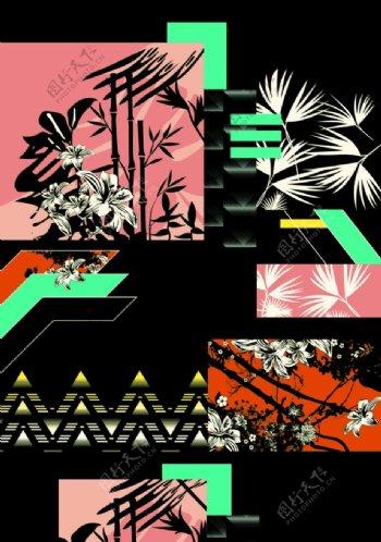 日本民族花纹花卉几何印花图案设图片
