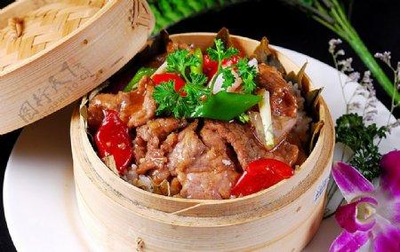 亚洲美食荷叶牛肉蒸饭图片