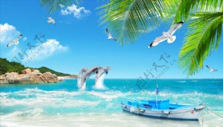 海边椰树海豚小艇背景墙图片