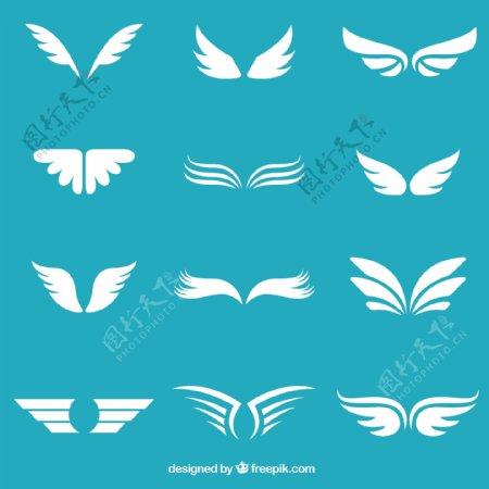 白色翅膀矢量图片