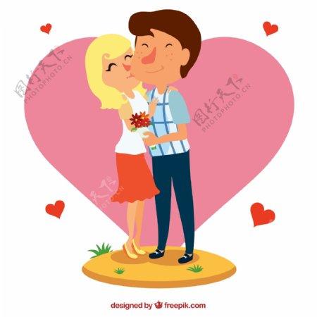 爱心情侣矢量图片