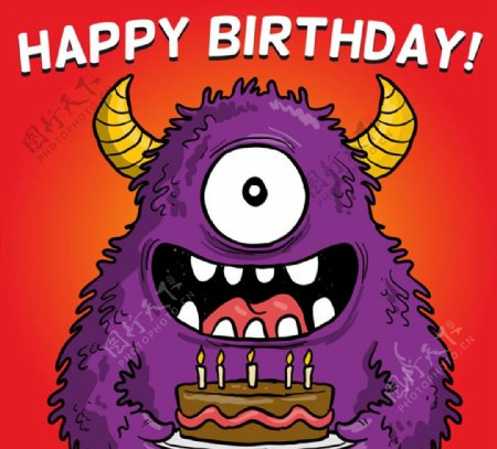 怪兽生日贺卡图片