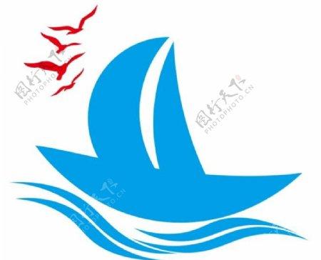 矢量帆船海鸥图片