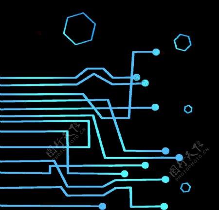 蓝色科技线路大数据图片