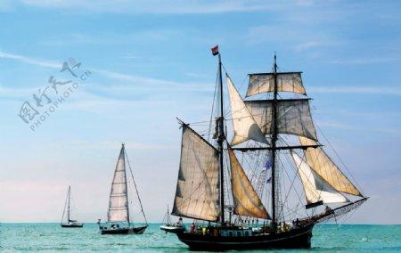 帆船复古航海传统背景素材图片