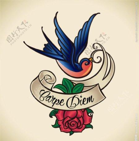 鲜花小鸟纹身插画图片