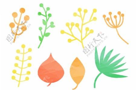 卡通植物叶子矢量图图片