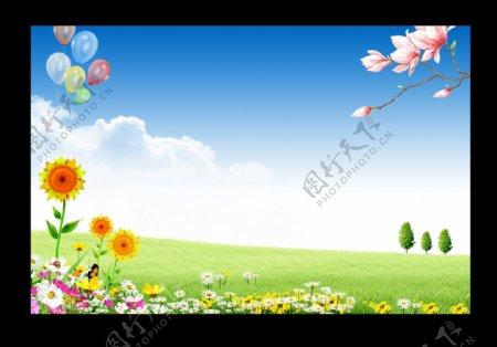 春天展板背景图片