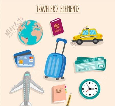 旅行元素设计图片
