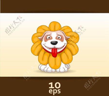 花卉装饰小狗图片