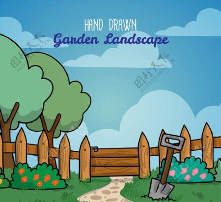 花园栅栏风景图片