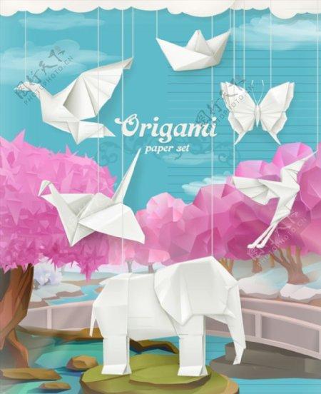 折纸动物插画图片