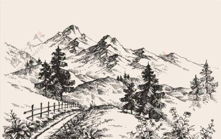 素描山地景观图片