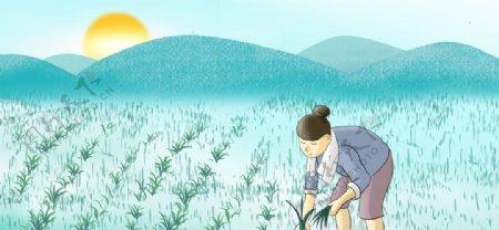 春种播种卡通背景图片