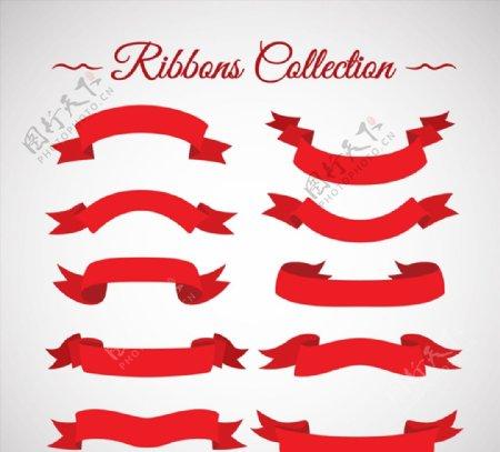 红色丝带条幅图片