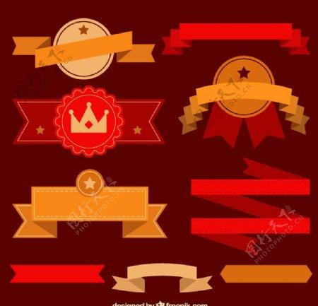 红丝带徽章矢量图片