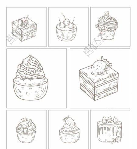 糕点冰淇淋美食手绘简笔画图片