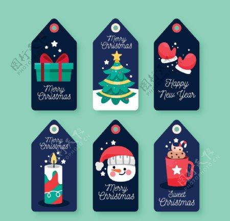 圣诞标签系列平面设计图片