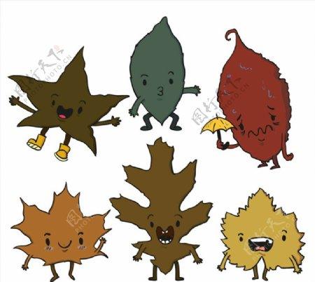 卡通表情叶子矢量图片