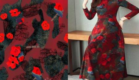 红花连衣裙图片